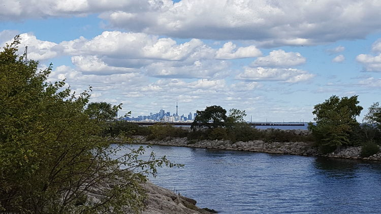 Toronto Skyline Tranquility CN Tower - Toronto Lake Ontario ACROSS THE LAKE From My Point Of View The View From Here Landscape No People Nature Water Cloud - Sky Outdoors Sky Day Beauty In Nature Trees The Week On EyeEm Lake Tree Cloudy Sky Rocks And Water Lost In The Landscape