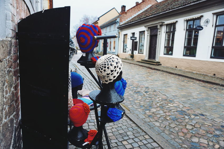 Handmade hats Architecture Art ArtWork Building Exterior Built Structure Day Fredrikstad Gamlebyen Handmade Knitted  Knitted Hat One Person Outdoors People Real People EyeEm Diversity Neighborhood Map