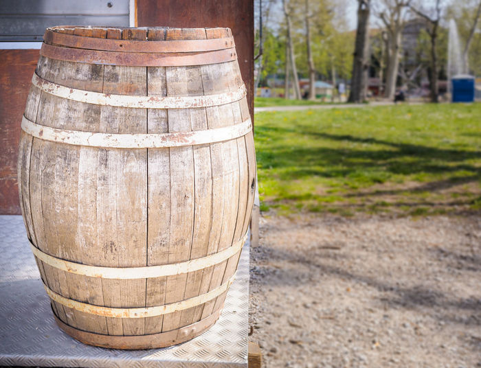 Close-Up Of Barrel Outdoors