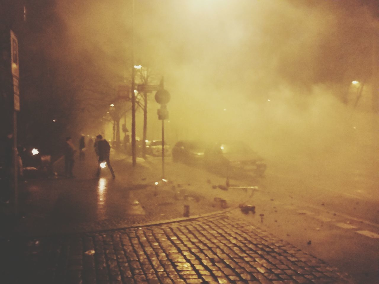 night, street, street light, illuminated, outdoors, city, one person, people