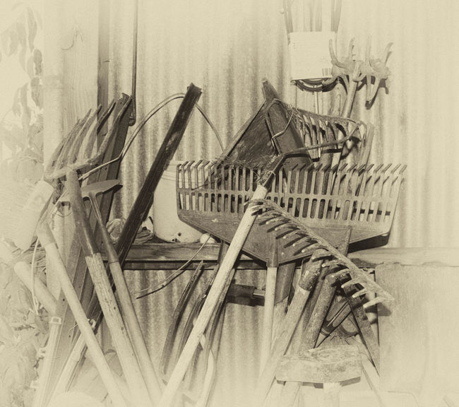 Black And White Close-up Corrugated Iron Day Indoors  No People Old Tools Pitchfork Rake Toolshed