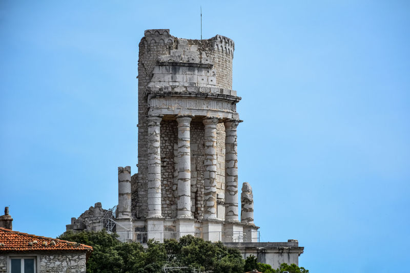 Ancient Ancient Civilization Archaeology Architectural Column Architecture Building Exterior Built Structure Day France French Riviera History La Turbie Low Angle View Monument No People Old Ruin Outdoors Roman Ruins Roman Time Sky The Past Travel Destinations Trophée Des Alpes