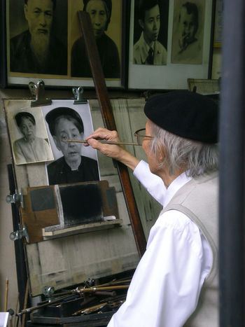 An old vietnamese painter in the Hanoi centre. Elderly Man Old Painter Painterly Portraits Vietnam Vietnamese Working Workshop