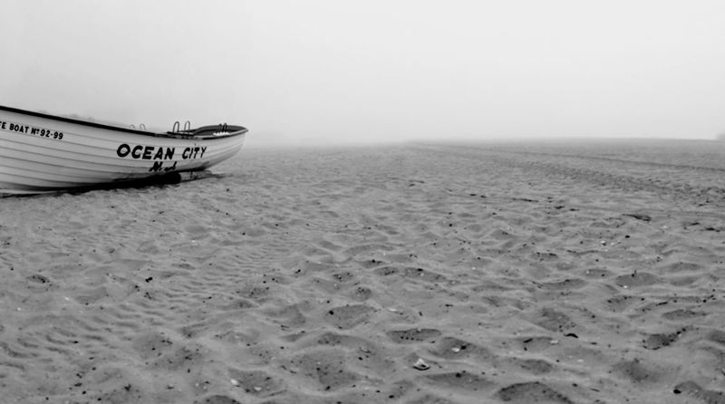 foggy ocbp pano Boat Beach Patrol Ocean City, NJ Panorama Foggy Morning Fog Nautical Vessel Water Sea Moored Rowboat Oil Pump Low Tide