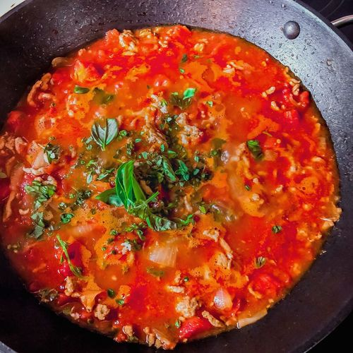 Good Food Real Food Is So Simple Basil Fresh Ingredients Harvest Season Basil Cooking Tomatoes Cooking Ingredient Tomato Sauce Close-up Red Tomato High Angle View Ready-to-eat No People Indoors  Still Life Frying Pan