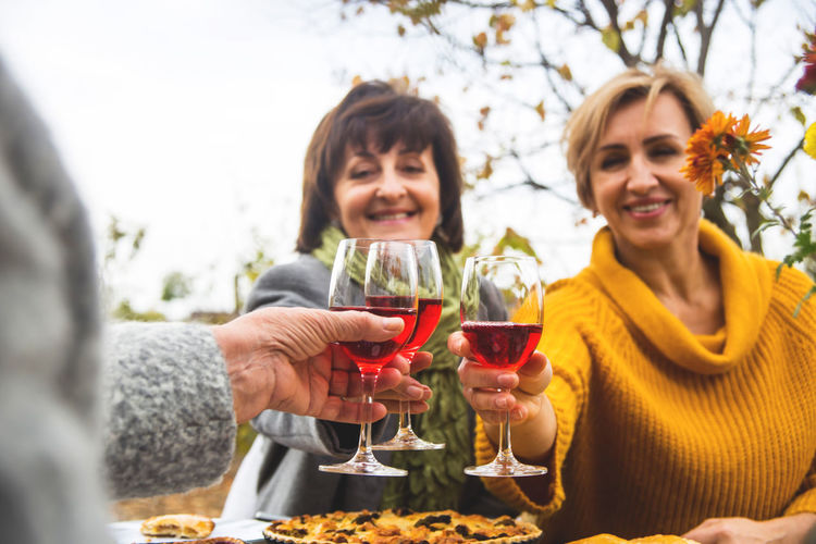 Friends toasting drinks while sitting outdoors during autumn