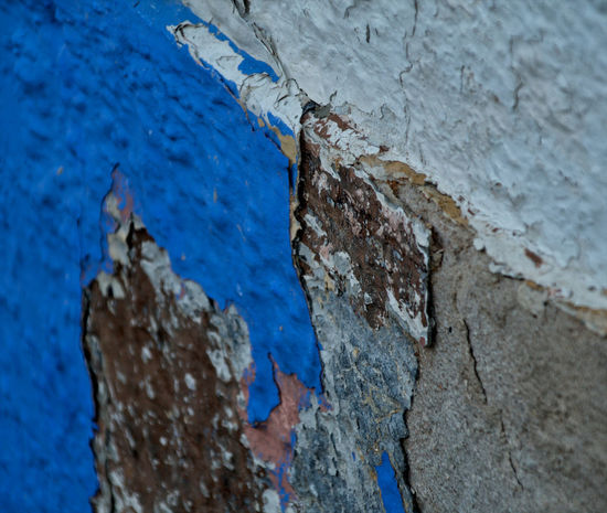 Abandoned Architecture Bad Condition Blue And White Brick Wall Broken Broken Glass Close-up Damaged Day Low Angle View Metalwork No People Old Outdoors Peeling Off Ruined Wall Textured  Weathered