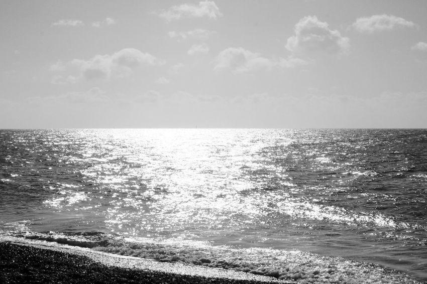 Empty Sea Beach Beauty In Nature Blackandwhite Cloud - Sky Horizon Horizon Over Water No People Scenics - Nature Sea Sky Tranquility Water Wave