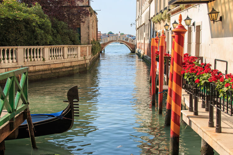 Gondola on a small canal near Saint Mark Square Architecture Bridge - Man Made Structure Bridge Of Sighs Building Exterior City Cityscape Connection Day Gondola Grand Canal Horizontal Italy Landmark Nautical Vessel No People Outdoors River Travel Travel Destinations Venice Water Waterfront