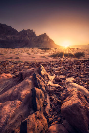 Scenic View Of Rocks In Desert Against Sky During Sunset
