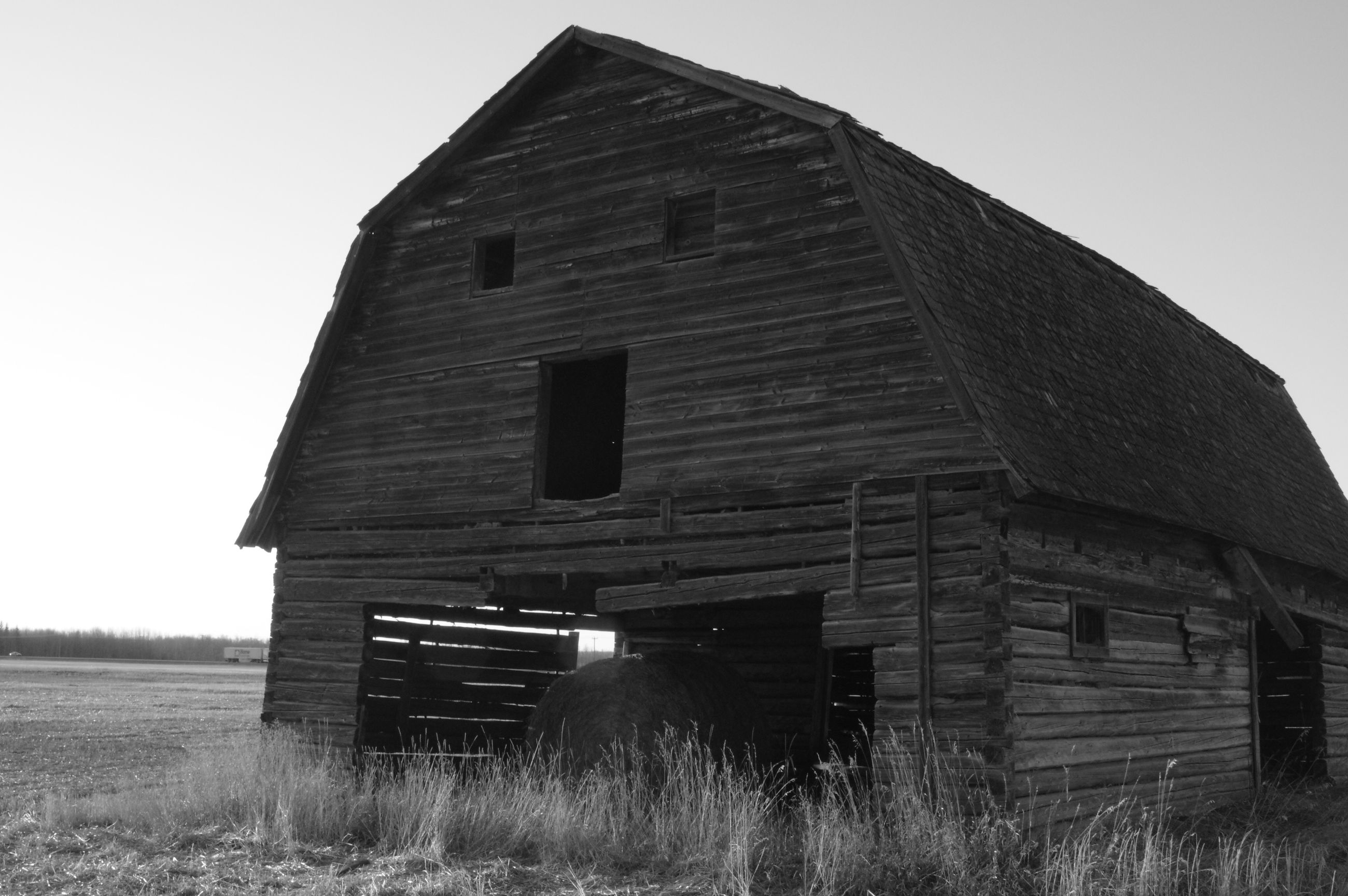 building exterior, architecture, built structure, abandoned, house, old, obsolete, clear sky, damaged, barn, field, exterior, run-down, low angle view, grass, window, deterioration, sky, residential structure, day
