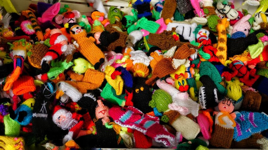 High angle view of colorful finger puppets