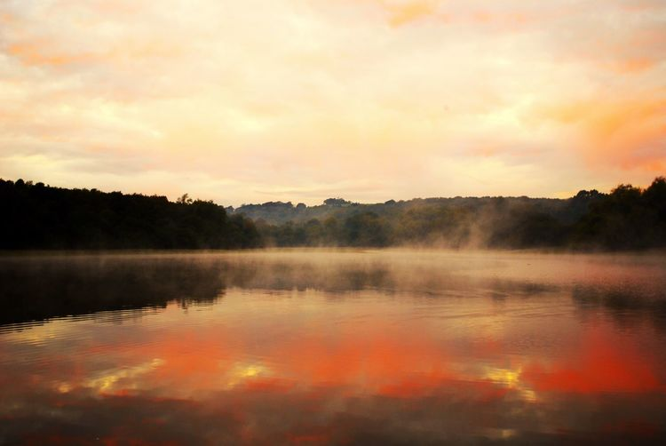 Evaporation Sunrise Nature Lake Reflection Tranquility Contrast And Lights