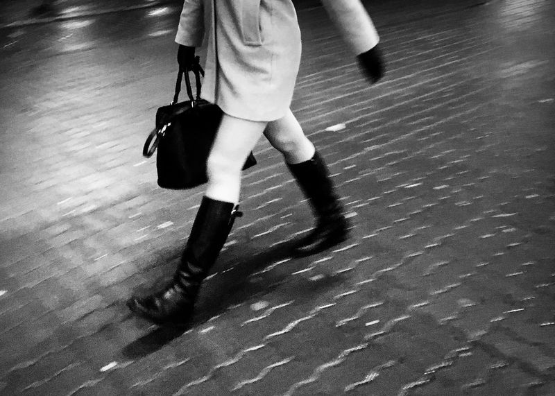 Disappearing act of the skirt Blackandwhite Fashion Streetphotography Low Section Human Leg Blurred Motion Walking Real People Motion Indoors  One Person Women Lifestyles People