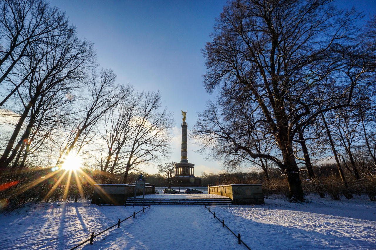 Low Angle View Of Victory Column Against Sky During Winter