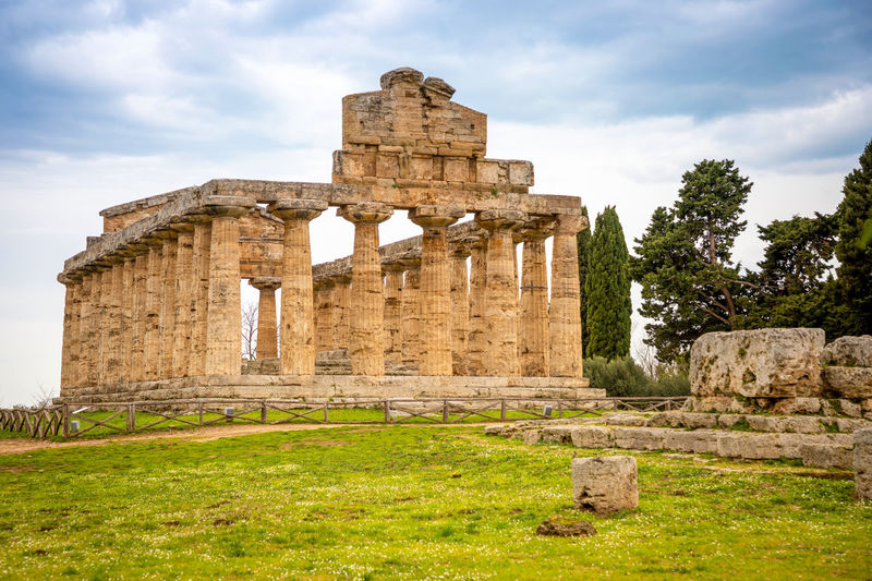 Italy Paestum History The Past Ancient Architecture Built Structure Old Ruin Ancient Civilization Sky Travel Destinations Tourism Cloud - Sky Travel Nature Old Archaeology Grass Plant Day Ruined No People Architectural Column Outdoors
