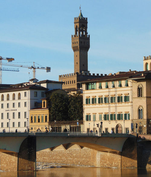 Architecture Bridge Building Exterior Built Structure City Clock Clock Tower Firenze Florence Palazzo Vecchio River Tower Travel Destinations