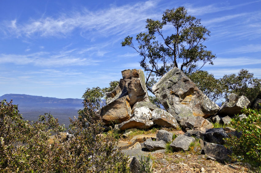 Rocky outcrop. Halls Gap. Australia. Australia Australian Landscape Beauty In Nature Cloud - Sky Day Environment Growth Landscape Mountain Nature No People Non-urban Scene Outdoors Plant Rock Rock - Object Rock Formation Scenics - Nature Sky Solid Tranquil Scene Tranquility Tree