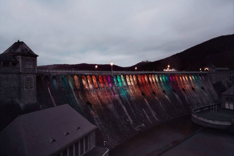 colors Edersee Germany Edersee Sperrmauer Colorsplash Long Exposure My Point Of View Nightphotography Night Illuminated Winter Sky Architecture Light Painting Entertainment