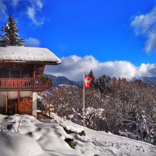 Typical Switzerland First Eyeem Photo Switzerland Chalet Snow Flag Winter Nature Switzerlandpictures Touring Switzerland