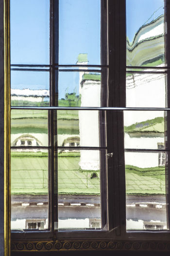 View from the Hermitage's window Green Roof Russia View Abstract Architecture Culture Day Ermitage Glass Glass - Material Hermitage Looking Through Window No People Palace Reflection Sky Transparent Window Window Frame Winter Palace