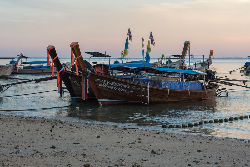 Krabi Krabi, Thailand Abandoned Beach Beauty In Nature Day Deterioration Fishing Boat Fishing Industry Land Mode Of Transportation Moored Nature Nautical Vessel No People Outdoors Sea Sky Sunset Tranquility Transportation Travel Water