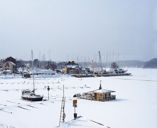 Gustavsbergs Hamn Stockholm Archipelago Värmdö  Gustavsberg Frozen Lake Ice Nature Winter Snow Going Sailing Cold Temperature Transportation Mode Of Transportation Water Architecture Beauty In Nature