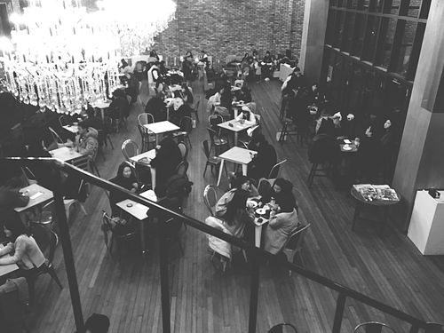 Cafe Large Group Of People High Angle View Real People Music Women Crowd Men Mixed Age Range Adults Only Audience People Adult Outdoors Day