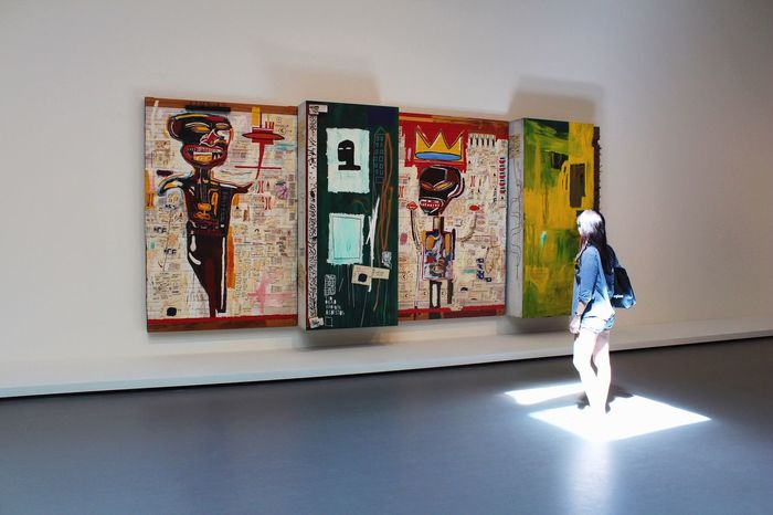 [ J-M Basquiat, Grillo ] Enlightened by Art. SAMO. Enlightened Enlight Light Ray Of Light ArtWork Basquiat Samo Painting Art Gallery Expo Getting Inspired Museum Arts Culture And Entertainment Contemporary Art Contemporary Art Contemplating Contemplative Visitors Visiting Museum Indoors  Showcase: February People Watching Afro Culture