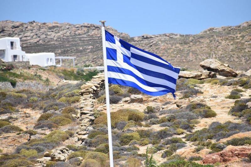 Flag Greek Flag Greece Mykonos