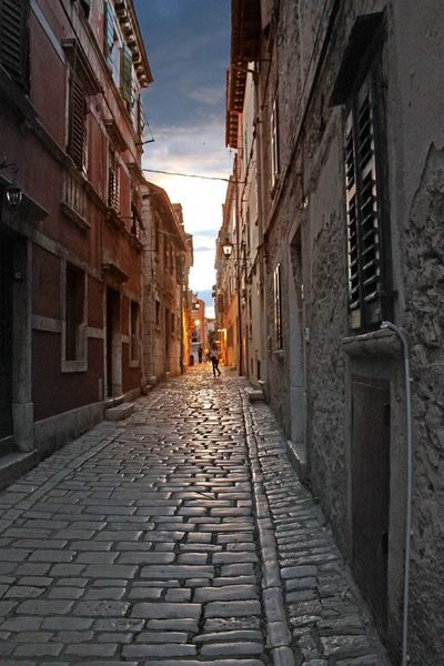 Cobblestone alley Holiday Rovinj Summertime Alley Cobblestone Coratia Hrvatska Sunset