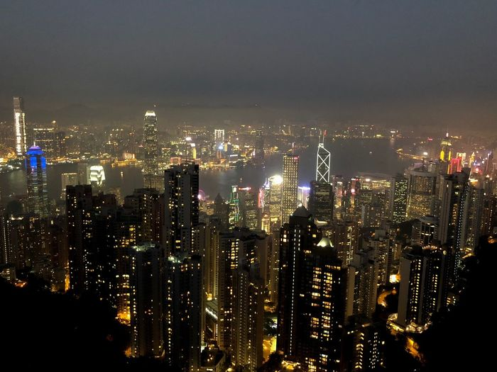 Hong Kong skyline from the Peak ASIA Metropolis Lights Harbor Victoria Peak Skyline Hong Kong Night Illuminated Skyscraper Cityscape Architecture Building Exterior City Night Modern Built Structure Travel Destinations Outdoors Urban Skyline