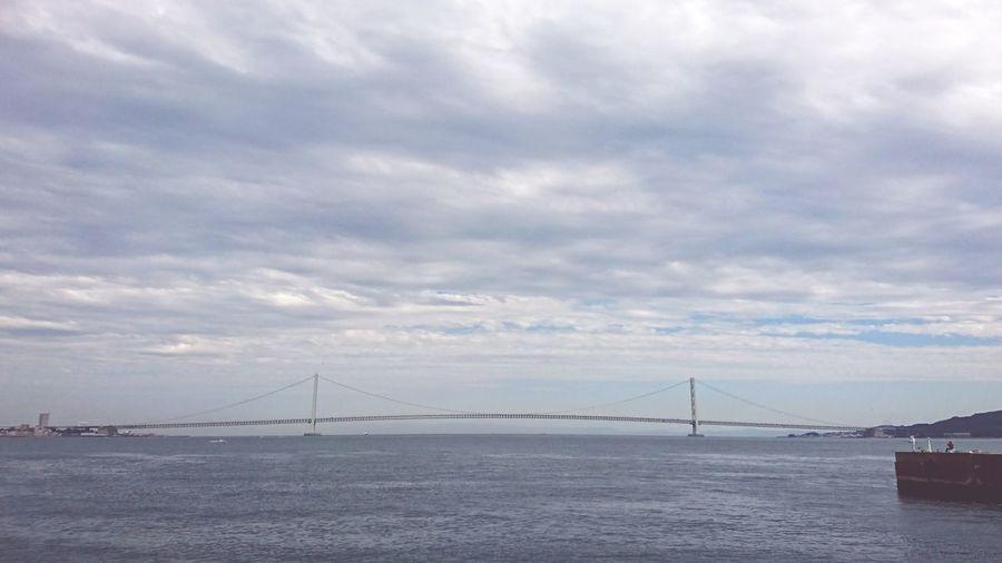 【Hyogo,Japan】Akashi bridge Akashi Kaikyo Bridge 明石海峡大橋 Akashi Bridge Japan Hyogo Nautical Vessel Sea Suspension Bridge Low Tide Cultures Sky