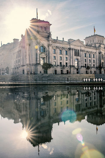 Reichstag Building Reflecting In Lake Against Sky On Sunny Day