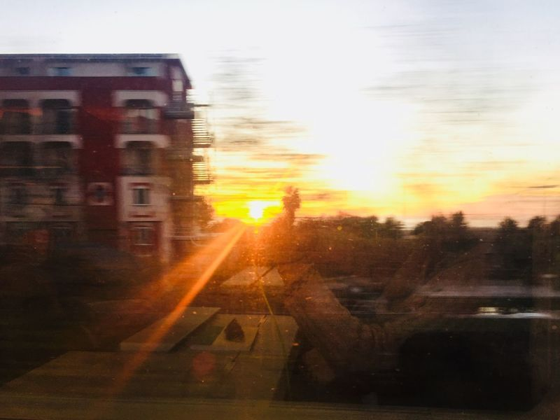 Train/2 Sunset Transportation Sky Lens Flare Building Exterior Sun Built Structure