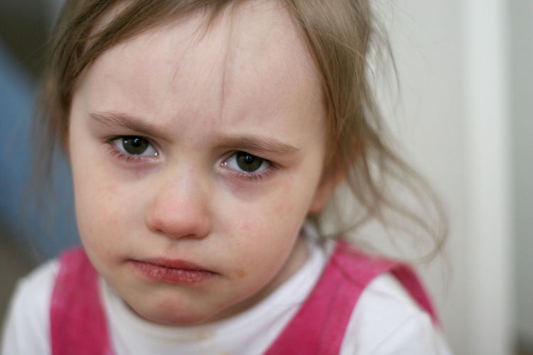 Children Casual Clothing Child Childhood Close-up Contemplation Crying Cute Depression - Sadness Emotion Females Front View Girls Headshot Human Face Indoors  Innocence Looking At Camera Offspring One Person Portrait Sad Sadness Teardrop Women