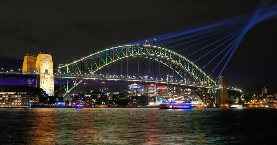 New South Wales  Sydney Vivid 2019 Festival Lighting Effects Light Show Harbour Bridge Harbor Night Illuminated Built Structure Architecture Water Sky Travel Destinations Travel Building Exterior Arch Bridge Blue Line