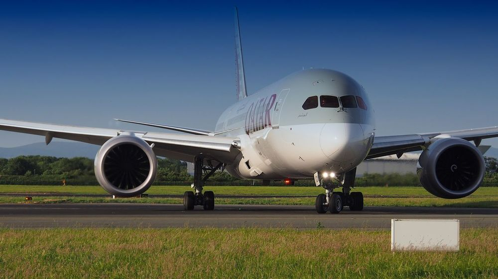 Air Vehicle Airfield Airplane Airport Airport Runway Boeing 787 Clear Sky Commercial Airplane Day Dreamliner Grass Journey Mode Of Transport Nature No People Outdoors Qatarairways Runway Sky Stationary Transportation Travel