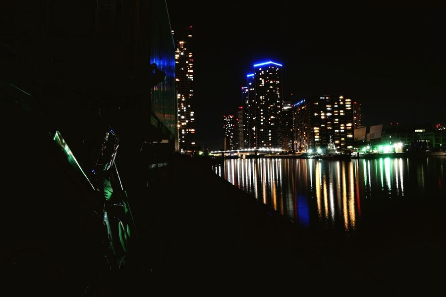 motorcycle City Illuminated Water Arts Culture And Entertainment Sky Architecture Built Structure Office Building