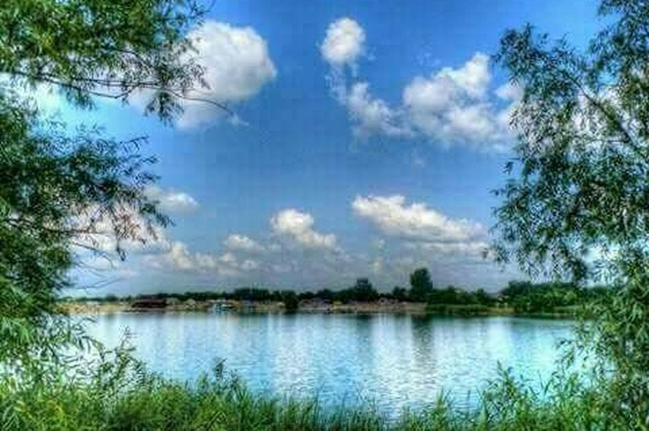 reflection, tree, sky, cloud - sky, water, nature, lake, scenics, outdoors, no people, blue, day, plant, landscape, beauty in nature, grass