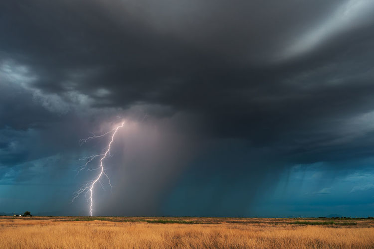 Lightning strikes from a strong, monsoon thunderstorm near douglas, arizona.