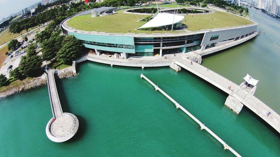 Fish-Eye Lens View Of Marina Barrage