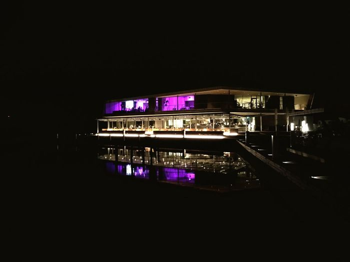 Das Fritz Lake Restaurant Night Illuminated Architecture Built Structure Arts Culture And Entertainment Nightlife Shades Of Winter