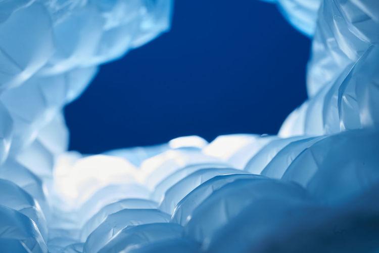 Bubble wrap on blue background