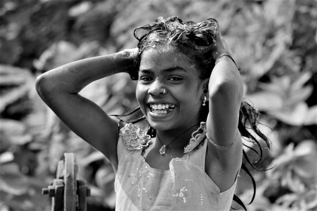 Another Smile !! Happiness Child Smiling Cheerful Portrait Beauty Outdoors Real People Beauty In Smile Monochrome Monochrome Portrait Black And White Portrait Black And White Photography B & W Portrait Uniqueness Women Around The World The Portraitist - 2017 EyeEm Awards EyeEm Selects Press For Progress