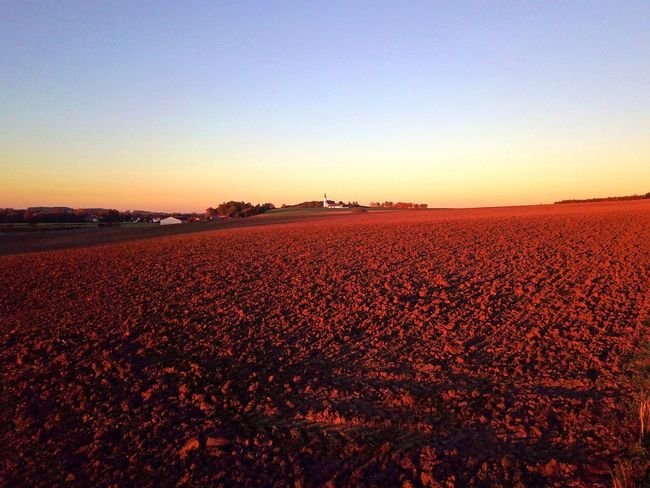Landscape Agriculture Tranquility Nature Clear Sky Field Tranquil Scene Beauty In Nature Plough No People Rural Scene Sky Sunset Dusk Church White Landmark Distant Panorama Plowed Field Day Bluesky Autumn Hill Germany