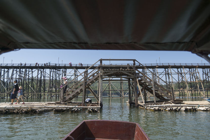 Architecture Bridge - Man Made Structure Built Structure Connection Day Lake Nature Outdoors Roof Sangklaburi Sky Sunrise Thailand Water
