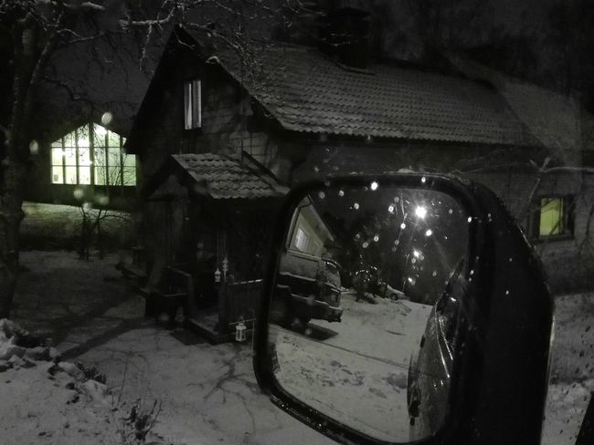 Architecture Built Structure No People Illuminated In The Evening In The Car Mirror Rearview Dark And Light Streetview Blackandwhite Mirror View Houses Houses And Windows Snowy Scene Winter