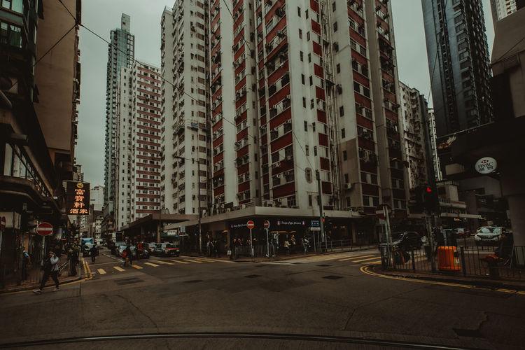 hongkong street City Architecture Building Exterior Built Structure Street Building Transportation Mode Of Transportation City Life Motor Vehicle Car Tall - High Incidental People Office Building Exterior Land Vehicle Road Skyscraper City Street Sky Day Outdoors Modern HongKong