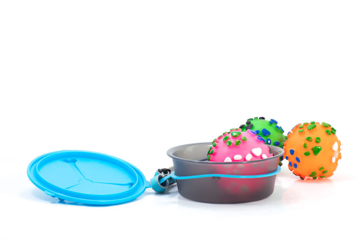 Pet accessories concept. Pet bowl with dry food and toy on isolated white background. Agriculture Animal Background Bowl Brown Canine Care Cat Circle Closeup Color Control Cookie Delicious Diet Dish Dog Dry Eat Empty Feed  Food Fresh Full Good Green Healthy Image Ingredient Leashes Meal Metal Natural Nature Nutrition Objects Organic Pet Pile Plate Puppy Raw Seed Shape Small Snack Top Toys Treat View